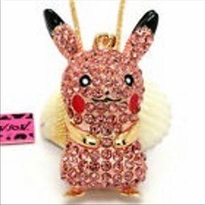 Pink pickhu Pokémon necklace
